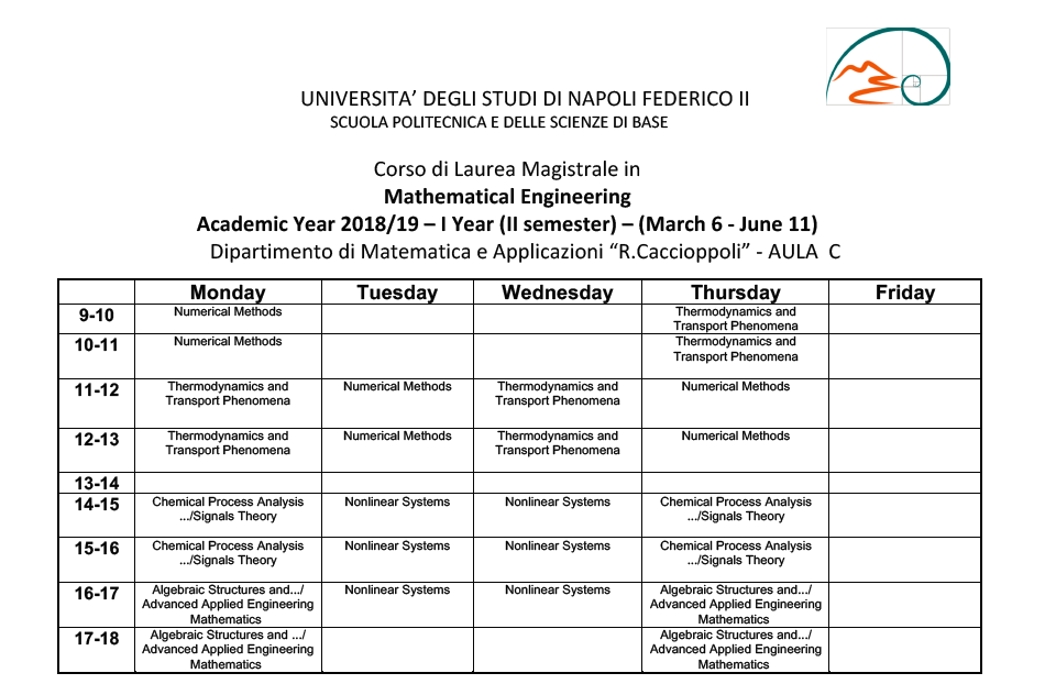mathematical-engineering - Lectures timetable